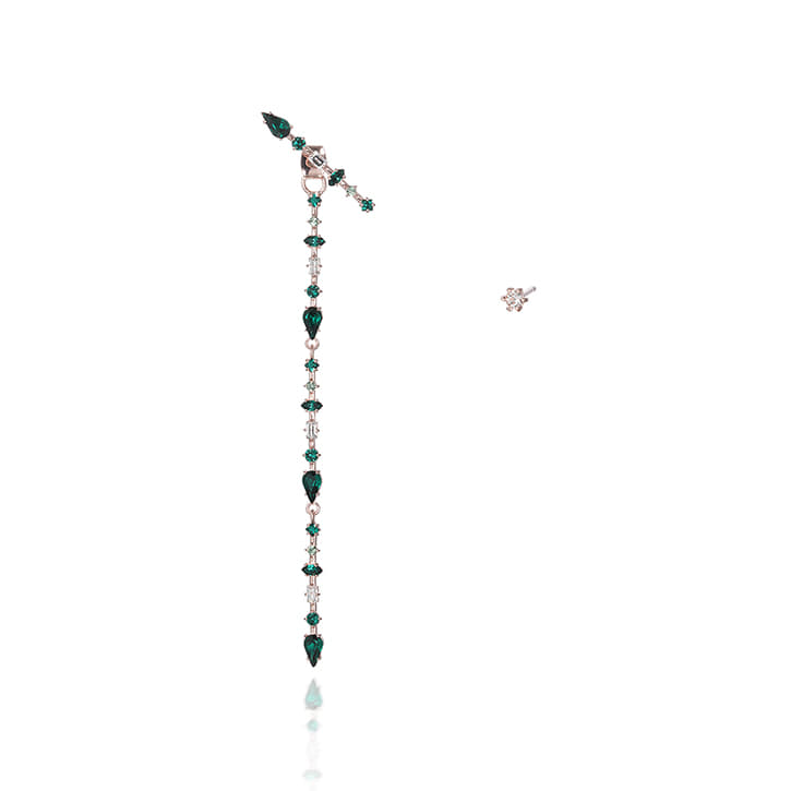 ARROW Emerald Long Single Earring