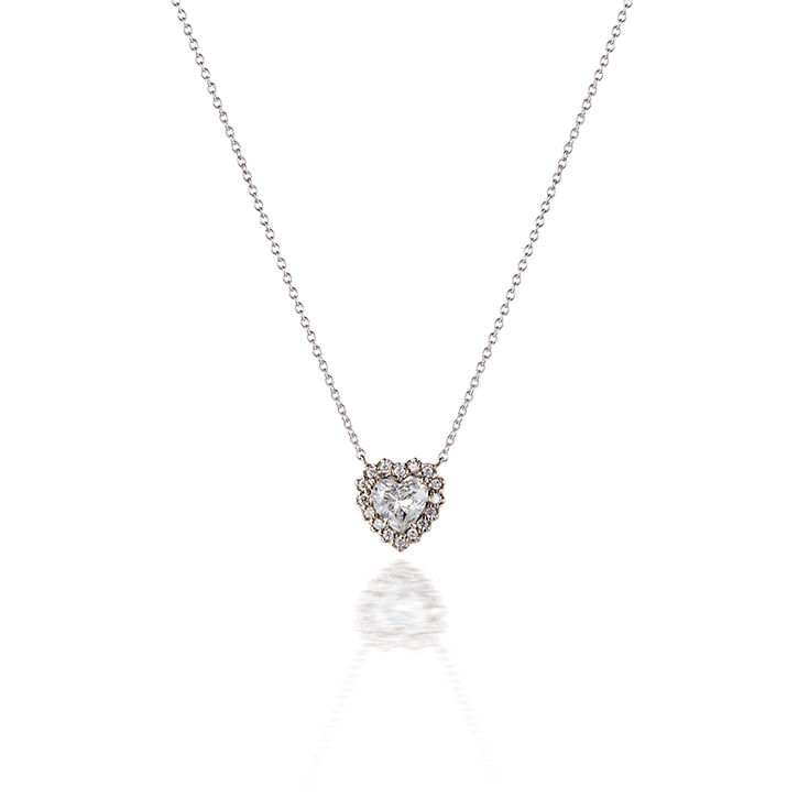 HEART HALO DIAMOND NECKLACE