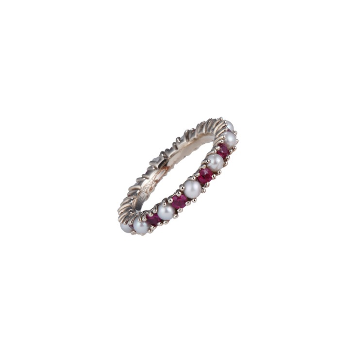 RUBY PEARL ETERNITY RING