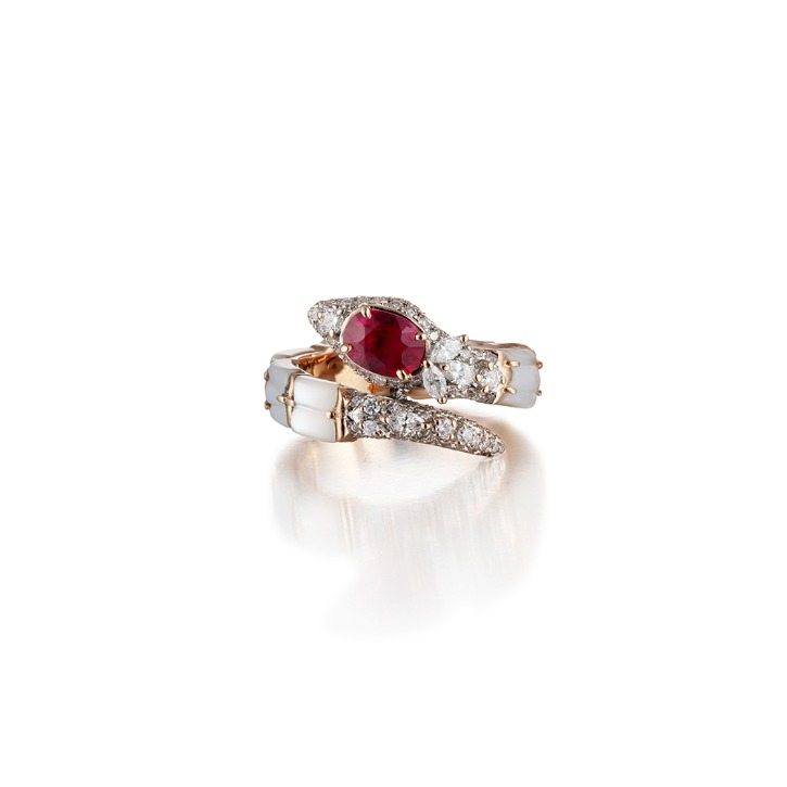 WHITE SNAKE RUBY RING
