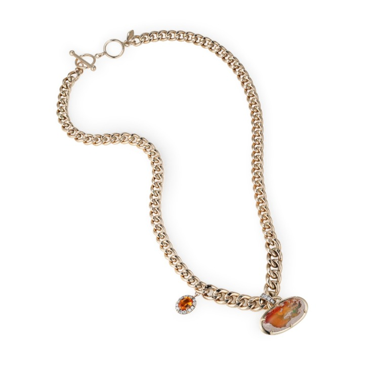 TREASURE KEEPER MEXICAN OPAL ORANGE SAPPHIRE Chain Necklace